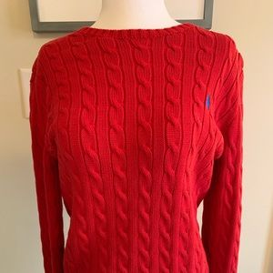 Red Polo cable sweater